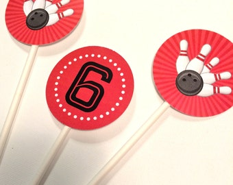 Bowling Party Cupcake Toppers