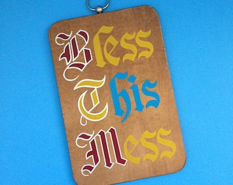 Bless This Mess Wall Hanging - Cutting Board - Made in Japan
