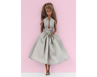 Grey pin-up dress for Barbie and Poppy