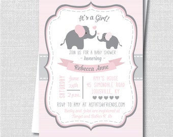 Pink Elephant Baby Shower Invite - Girl Baby Shower - Digital Design or Printed Invitations - FREE SHIPPING