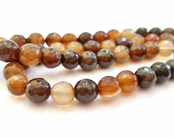 15 Inch Strand of Shades of Brown Natural Faceted Agate Gemstone Beads.  8mm Round Beads.  48 Gorgeous Beads. Very Pretty and Unique!!