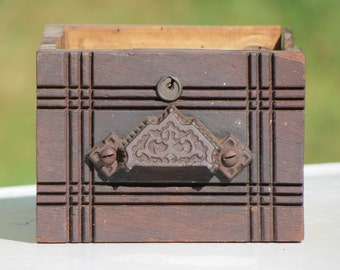 Antique Wooden Sewing Machine Drawer With Cast Iron Pull