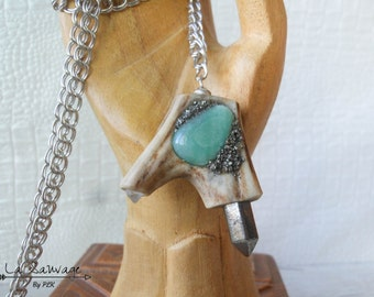 Pyrite aventurine chips necklace boho- - quartz - double horn boho - encrusted, long necklace - Collection [The Wild] by PLK