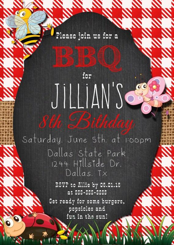children birthday bbq invitation chalkboard 1st 5th 8th sweet 16th