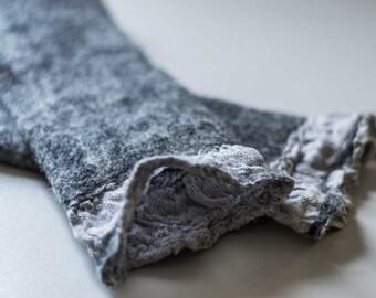 Mittens arm warmers fingerless gloves cuffs natural felted wool Merinos gray