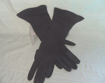 "Long black cotton women's gloves  AS IS / vintage, 13"", size 7  Flared Cuff"