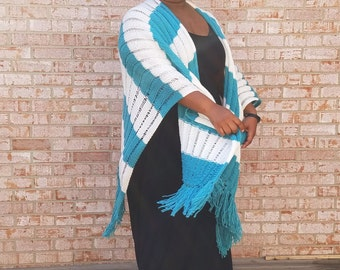 Aqua and Off White Stripe Knit Shawl with Fringe - Cover up