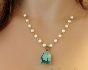 Swarovski Pearls necklace with bell Flower blue and white Botanical Jewelry elegant metalwork brass Organic Nature Gift for her