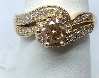 Champagne and White Diamond .76ctw 14K Yellow Gold Ring Size 6