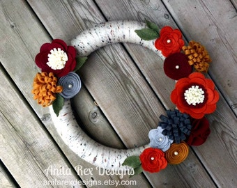 Fall Wreath, Yarn Wreath, Birch Wreath, Felt Flower Wreath, Autumn Wreath, Thanksgiving Wreath