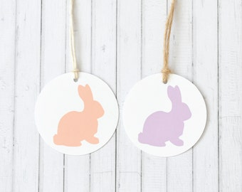 Bunny Gift Tag, Silhouette Gift Tags, Round Gift Tag, Rabbit Gift Tag, Baby Shower Gift Tag, Woodland Gift Tag, Kids Birthday Party Decor