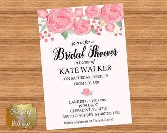 Pink Floral Bridal Shower Invitation