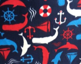 Nautical Fleece fabric for a Blanket or Sleeping bag 36x60