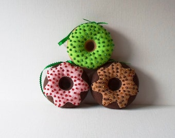 Handmade Holiday Felt Doughnut Ornaments