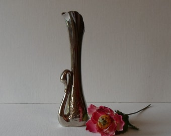 Vintage 70's Silver Plate Swan Bud Vase Art Deco Made in France