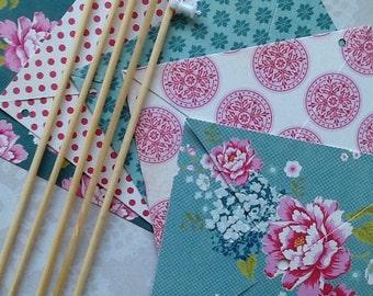 5 paper pinwheels spinning kit NO PINS - vintage tea party theme
