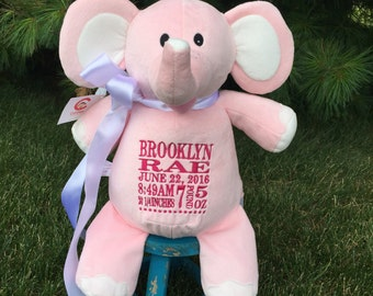 Pink Elle Cubbie ,  Cubbie Elle, Elephant, Pink Elle  Birth Statistics, Keepsake, First Birthday, Baby Gift, Shower Gift,  Pink Elephant