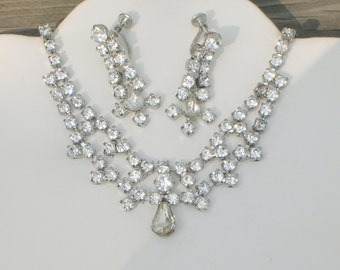 Vintage Rhinestone Elegant Necklace and Earring Set Clear Crystals