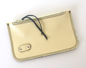 Elliot Coin/Card Pouch:  Lemon Yellow Leather