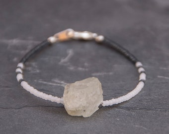 White and Grey Bracelet With Raw Pyrite