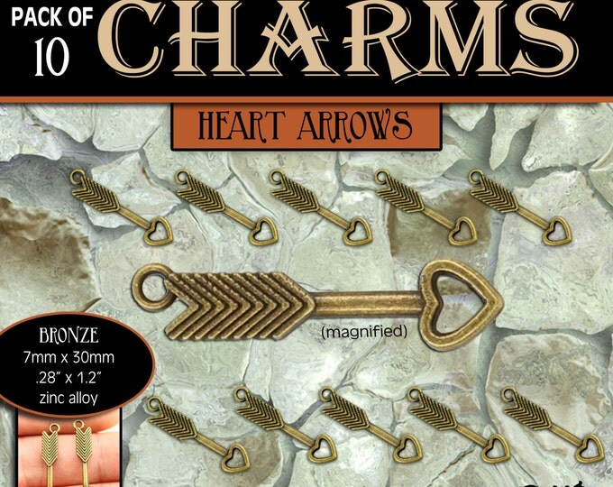 CHARMS - Heart Arrow Bronze - Pack of 10 Charms. DIY Love Jewelry Findings for Necklaces, Bracelets, Pendants, Craft Supplies
