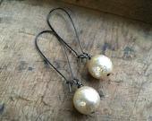 Rustic Champagne Czech Glass Pearl Earrings on Long Kidney Wires
