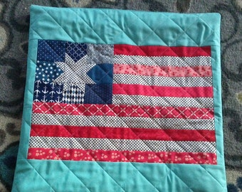 Scrappy Red, white, and blue flag with turquoise background pillow cover