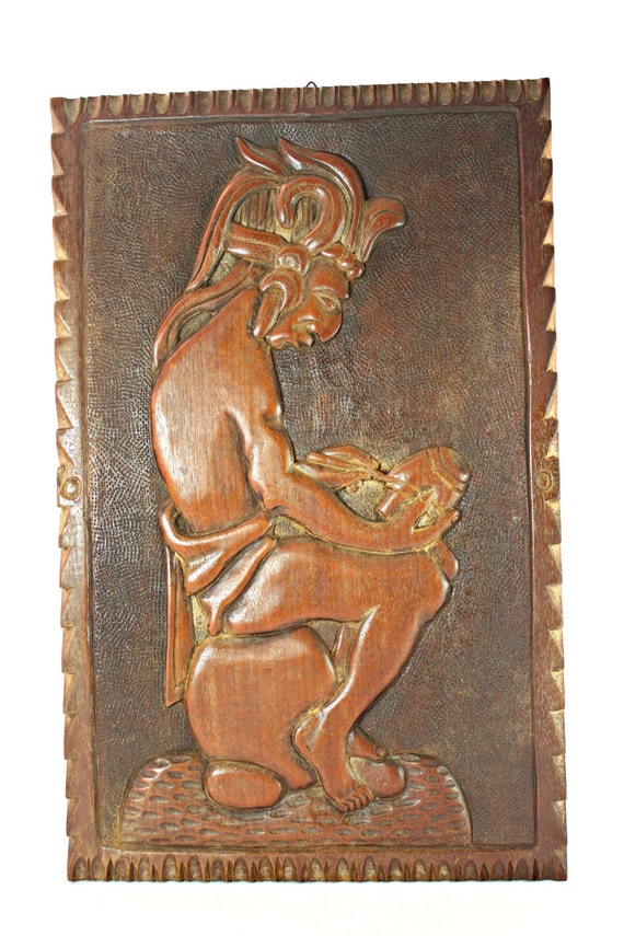 Mayan wood carving maya aztec relief vintage