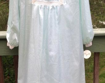 Vintage Llise Stevens Light Blue Silky Nightgown Size Small ~ Woman's Sleepwear, Negloga, Lingerie,  ~ NWT
