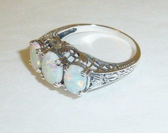 White Opal Ring Sterling Silver Filigree October Birthstone Art Deco Victorian Style Engagement Ring 925 Solid Sterling Size 9 Gemstone Ring