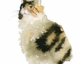 Cat Art - Calico Kitty - 13x19 or 16x20 LARGE  Fine Art Print - Cat Watercolor - Kitty Painting