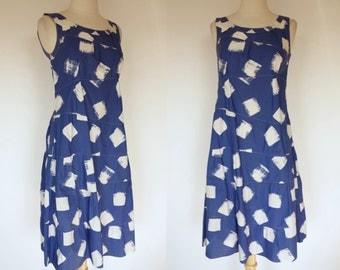 1990s Moschino dress, blue print, cotton, sleeveless, designer, summer, sun dress, small