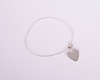 Bracelet Silver Heart Love Chain Plated Hearts Silver Plated Ballchain Chain Silver Plated