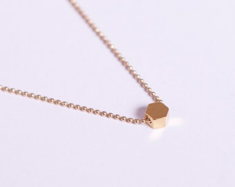 Gold Plated Necklace  Golden Hexagon Bead Filigree Gold Necklace Honeycomb