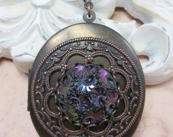 Victorian Locket Vintage Inspired Mourning Locket Tapestry Glass