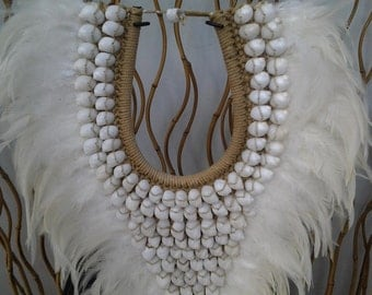 SALE - Full White Papua Native Warrior necklace with  white shells