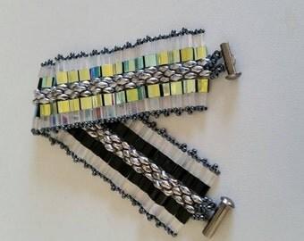 Glass beaded Tila bracelet reversible