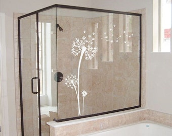 Etched Glass Vinyl Dandelion Wall Decal | Blowing Seeds | Windows, Mirrors, Glass, Sliding Glass Doors | Dandelion Wall Art | CE19