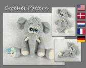 Crochet Toy Pattern, Amigurumi, Stuffed Animal Crochet Pattern, Amigurumi Elephant Pattern, CP-131