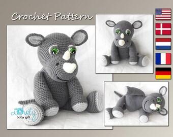 Amigurumi Pattern, Rhino Crochet Pattern, Animal, CP-143