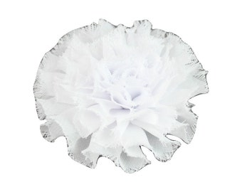 "White, Mini Chiffon Puff,  Shabby Chic Flower, Soft Chiffon Fabric Flower, Frayed Flower, 2.2"" Small"