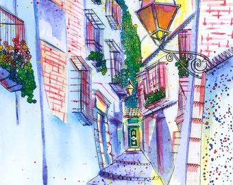 """SALE! Granada 11"""" x 14"""" Print: Cuesta de San Gregorio, Albaicín, Granada, Spain"""