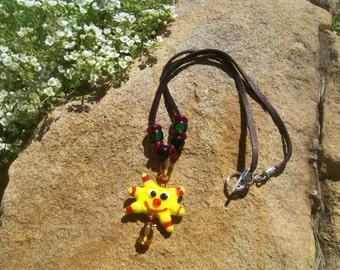 Handmade glass lampwork bead necklace, sunshine