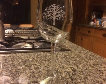 Wine Glass Etched Tree