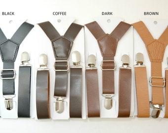 We SHIP FAST Wedding Vintage / Coffee Rustic Brown / Dark Brown / Black Wide Pu Leather Suspenders Kids Boys Mens Groom Page Boy 8mo - ADULT