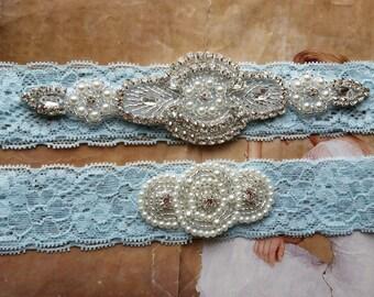 Something Blue Wedding Garter Set - Pearl and Rhinestone Garter Set on a Light Blue Lace Garter Set with Pearl & Rhinestone - Style G233BL