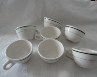 Buffalo China Green Trim Tea Coffee Cups Set Of Seven