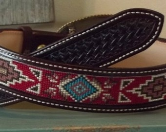 Hand made special order beaded belt.