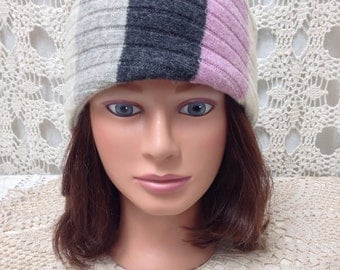Upcycled lambswool headband-recycled pink and grey stripe felted wool headband/earwarmer-made from sweaters