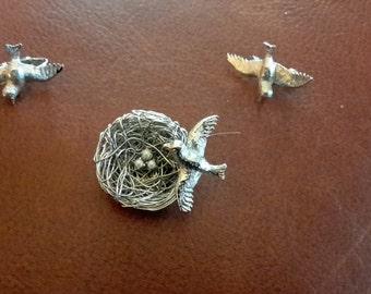Jeanne Brooch & Earrings, Very Springy Bird in Nest with eggs